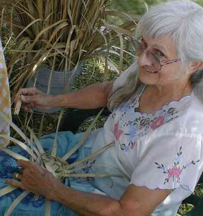 Pensacola:-Historic-Pensacola-Village:-The-Weavers-Cottage_08.jpg:  basket weaving, reenactor, colonial period, palmetto fronds, weaver, historic reenactment