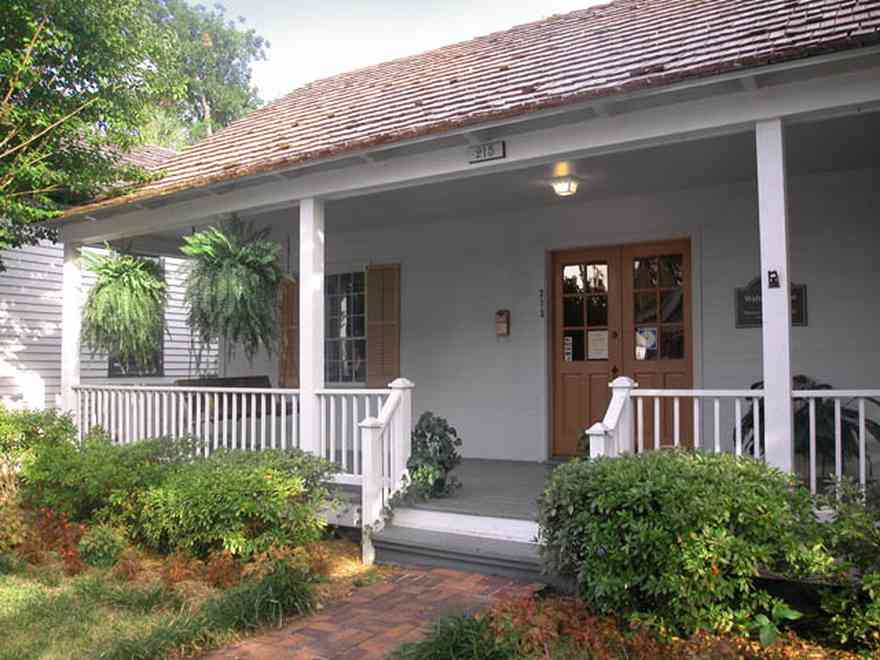 Pensacola:-Historic-Pensacola-Village:-Walton-Cottage_03.jpg:  front porch, creole cottage, shutters, cedar shingle roof, shake roof, front porch
