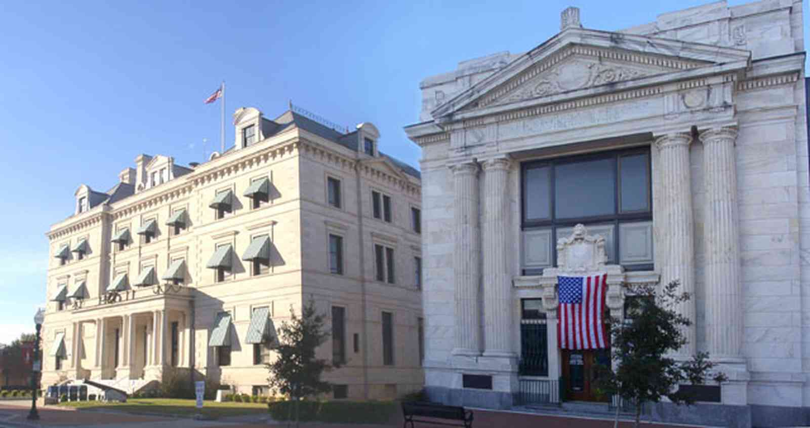 Pensacola:-Palafox-Historic-District:-Escambia-County-Courthouse_00.jpg:  classical revival architectural style, marble, bank building, courthouse
