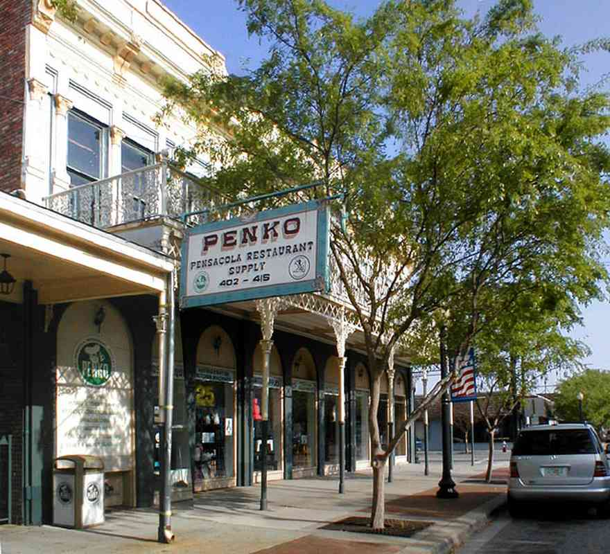 Pensacola:-Palafox-Historic-District:-Penko-Restaurant-Supply_01.jpg:  historic district, restaurant supply, victorian building, metal work, wrought iron, balcony