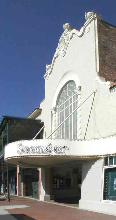 Pensacola:-Palafox-Historic-District:-Saenger-Theatre_01.jpg:  movie theatre, marque, spanish revival architecture, palafox place