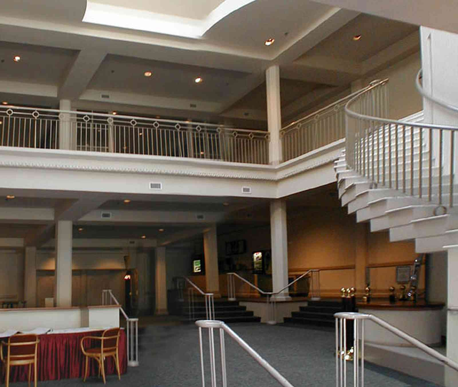 Pensacola:-Palafox-Historic-District:-Saenger-Theatre_03a.jpg:  movie house, movie theatre, theatre lobby, art deco architecture, staircase