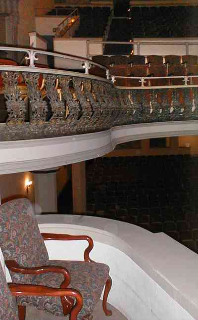 Pensacola:-Palafox-Historic-District:-Saenger-Theatre_10b.jpg:  second floor balcony, spanish revival architecture, wrought-iron fretwork, movie theatre