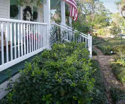Pensacola:-Seville-Historic-District:-211-South-Florida-Blanca-Street_08.jpg:  american flag, porch, brick path, gulf coast cottage