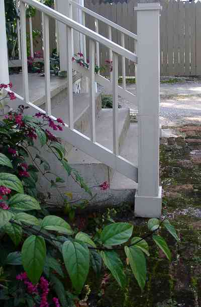Pensacola:-Seville-Historic-District:-311-East-Intendencia-Street_04.jpg:  flowering vine, steps, gulf coast cottage, picket fence