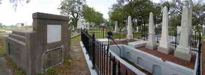 Pensacola:-Seville-Historic-District:-St-Michael-Cemetery_10.jpg:  raised crypt, tomb, cemetery, wrought-iron fence