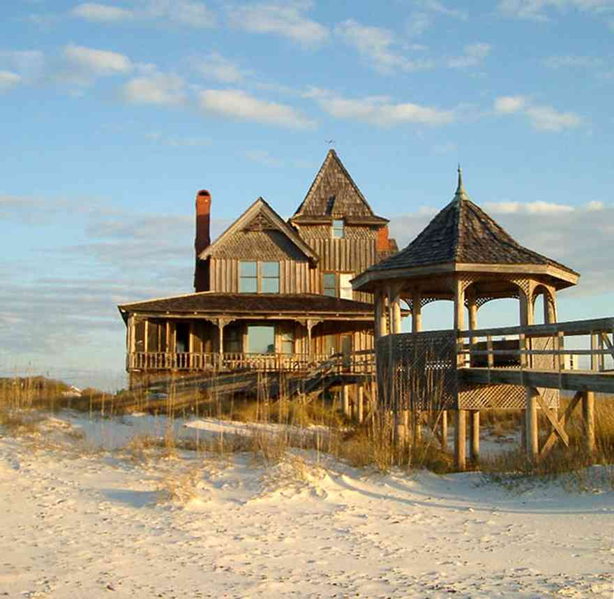 Perdido-Key:-Gothic-House_00.jpg:  folk victorian architecture, gothic architecture, tower, spire, weather vane, gazebo, wrangler shoot, victorian house