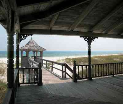 Perdido-Key:-Gothic-House_08a.jpg:  gazebo, victorian architecture, dunes, white sand, emerald water, sea oats, deck