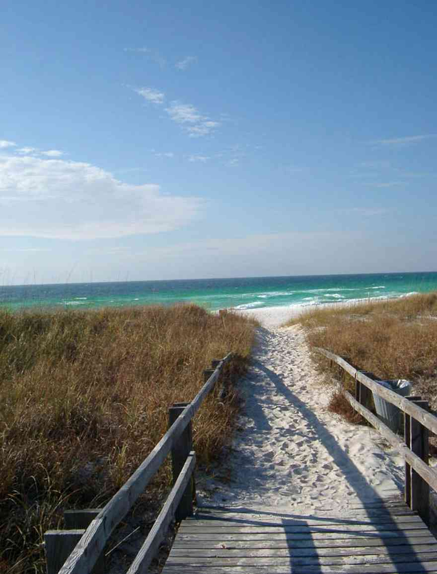 Perdido-Key:-State-Recreation-Area-2_04.jpg:  surf, waves, gulf of mexico, emerald water, sea oats, boardwalk, recreational area