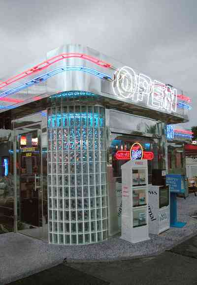 Pine-Forest:-50s-Diner_03.jpg:  neon sign, 1950 style, glass blocks, newspaper stand, stainless steel, park bench, hamburgers, green fried tomatoes