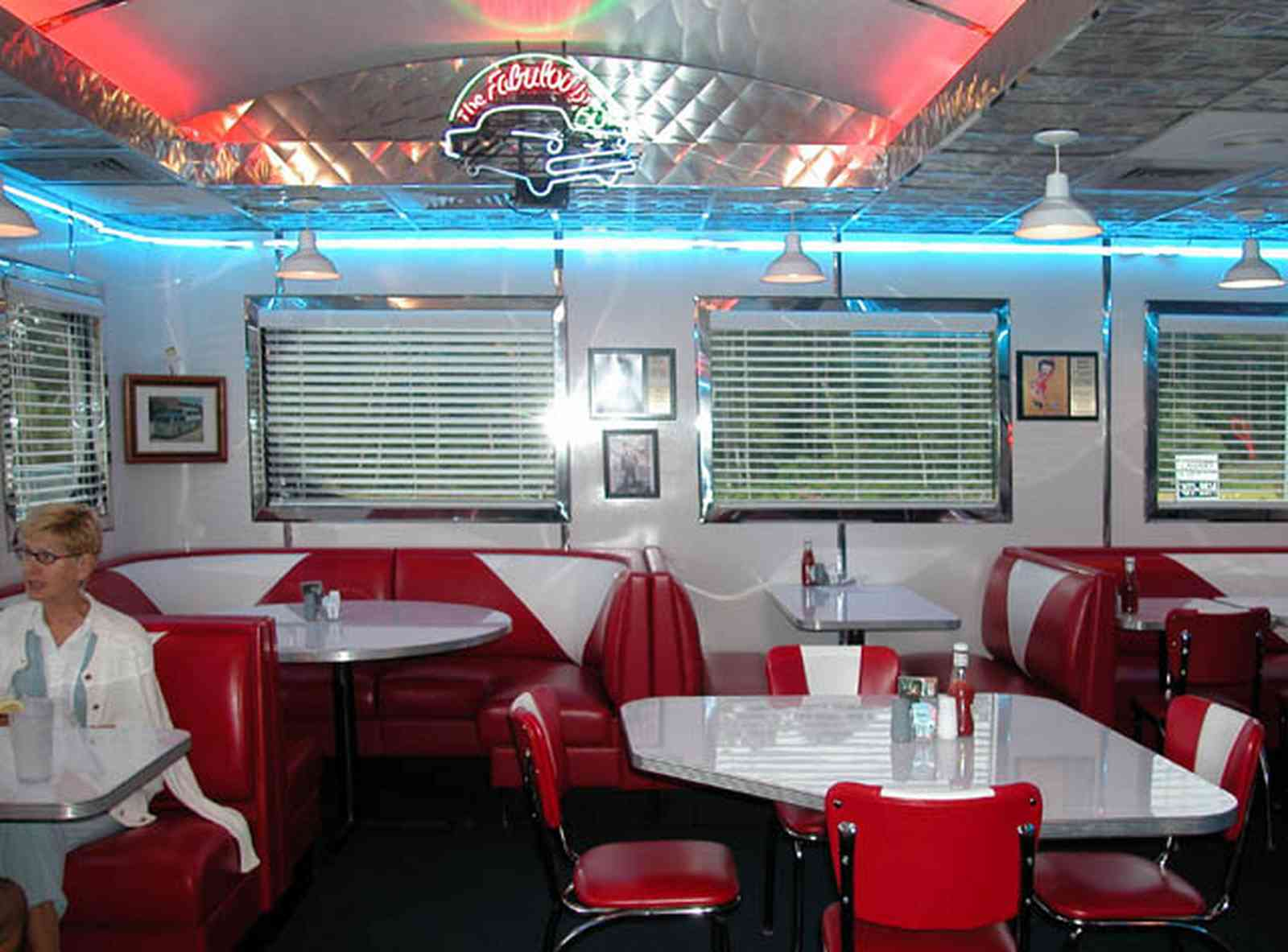 Pine-Forest:-50s-Diner_07.jpg:  booth, neon, stainless steel, diner, venitian blinds