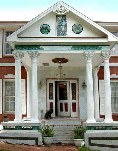 Scenic-Highway:-3780-Scenic-Ridge-Drive_02.jpg:  marble facade, corinthian columns, mansion, red brick house, pavilion,
