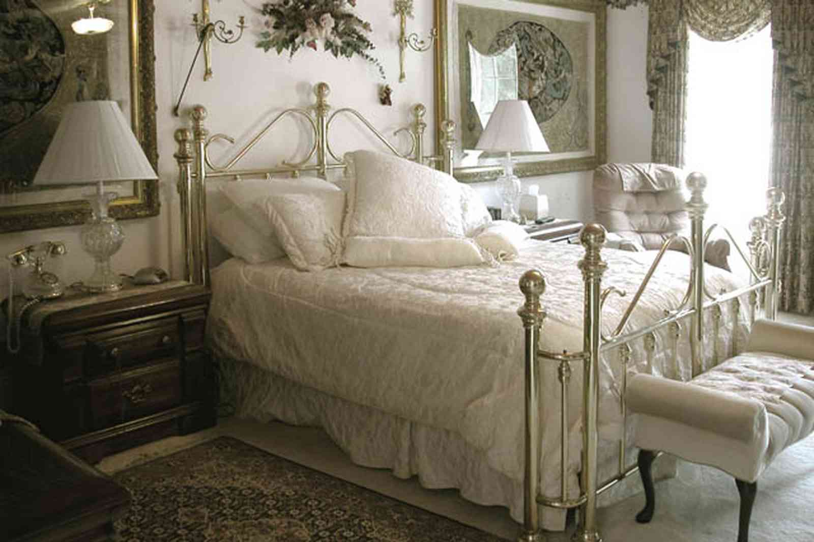 Scenic-Highway:-3780-Scenic-Ridge-Drive_09.jpg:  brass bed, battenberg lace, oriental rug, settee, swag drapes, marble floors,