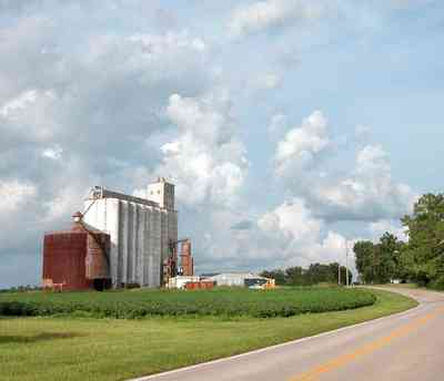 Walnut-Hill:-Escambia-Grain-Corp_02.jpg:  cotton fields, country road, two-lane road, grain elevator, farmland, farmer, storage,