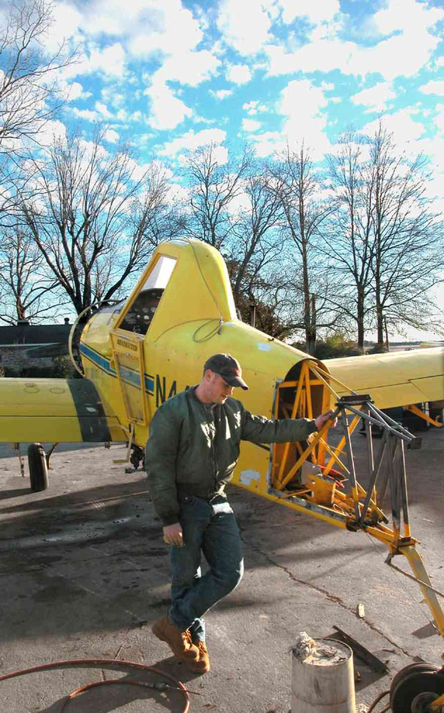 Walnut-Hill:-Mikes-Ag-Air_01a.jpg:  crop duster, agricultural applications, chemical dusting, farm, farmland, airplane, single engine airplane