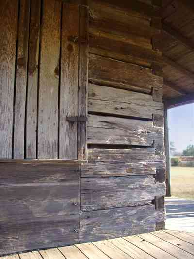 Walnut-Hill:-School_06.jpg:  log cabin, mortise and tendon joints, shutters, porch, cotton field